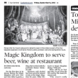 Magic Kingdom Adds Beer, Wine to Menu