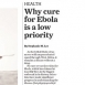 Ebola Drugs a Low Priority for Pharmaceutical Companies