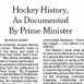 Canada's Prime Minister Pens Hockey History Book