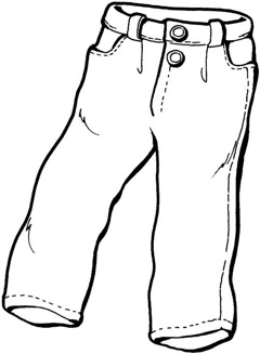 Cartoon Drawing Of Black Jeans Sketch Coloring Page