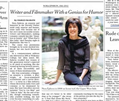 """essays written by nora ephron In april the believer declared nora ephron """"the original tina fey  of the food- writing establishment—but in her last book, the 2010 essay."""